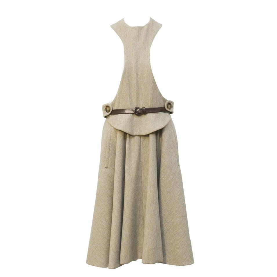 1960s Geoffrey Beene Oatmeal Wool 'Lollipop' Dress