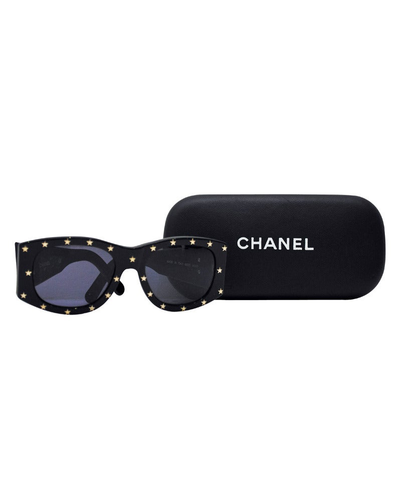 Chanel Black Sunglasses  1990s chanel black sunglasses with gold stars at 1stdibs