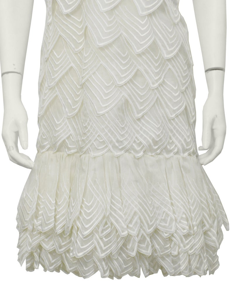 1983 Christian Dior Haute Couture Off White Organdy Strapless Dress 4