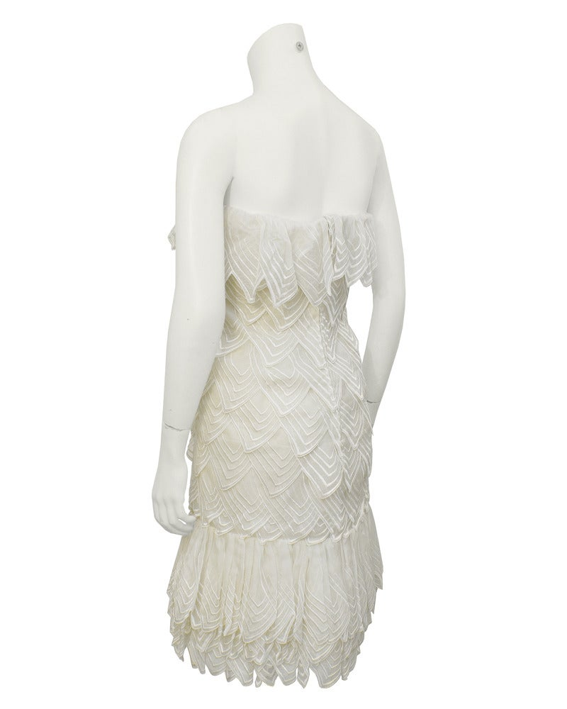 1983 Christian Dior Haute Couture Off White Organdy Strapless Dress 2