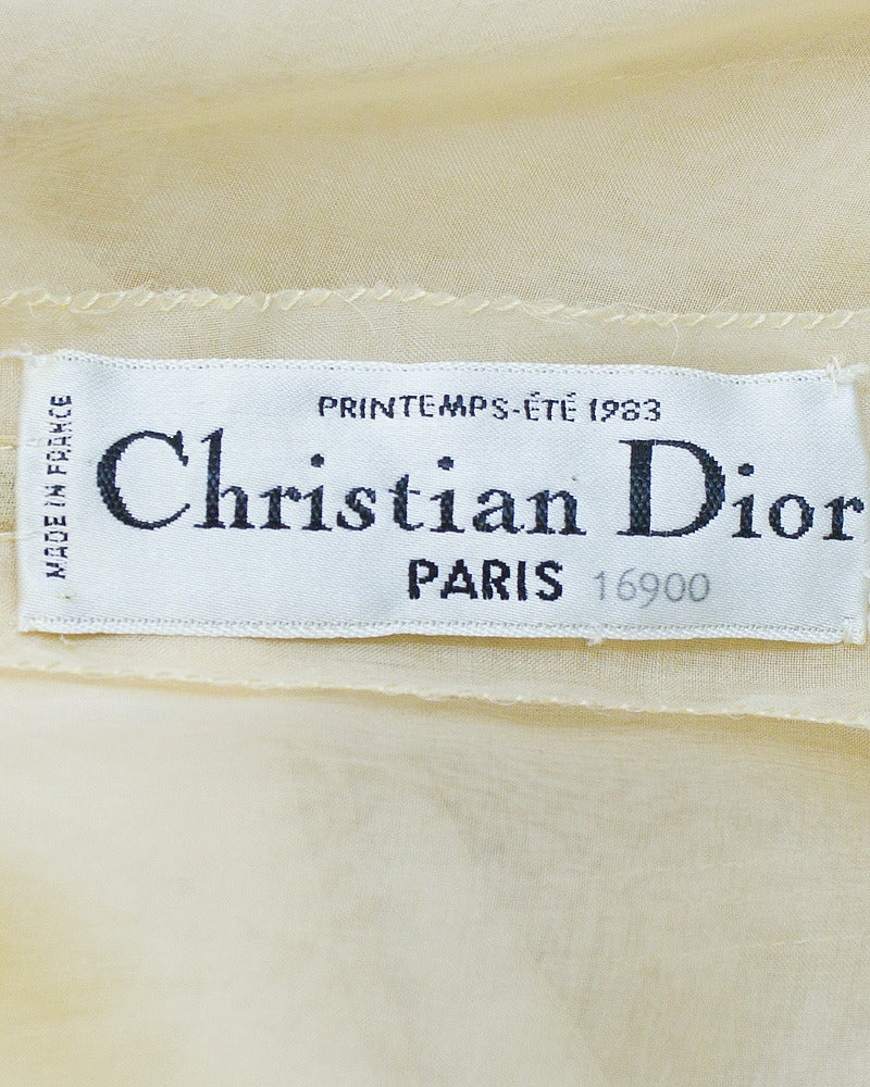 1983 Christian Dior Haute Couture Off White Organdy Strapless Dress 6