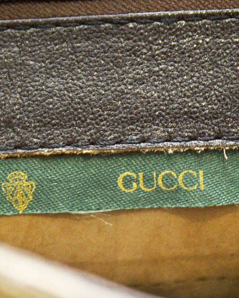 Women's 1970s Gucci Brown Leather & Velvet Tote For Sale