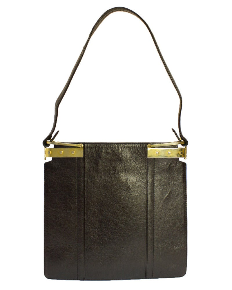 Black 1970s Gucci Brown Leather & Velvet Tote For Sale