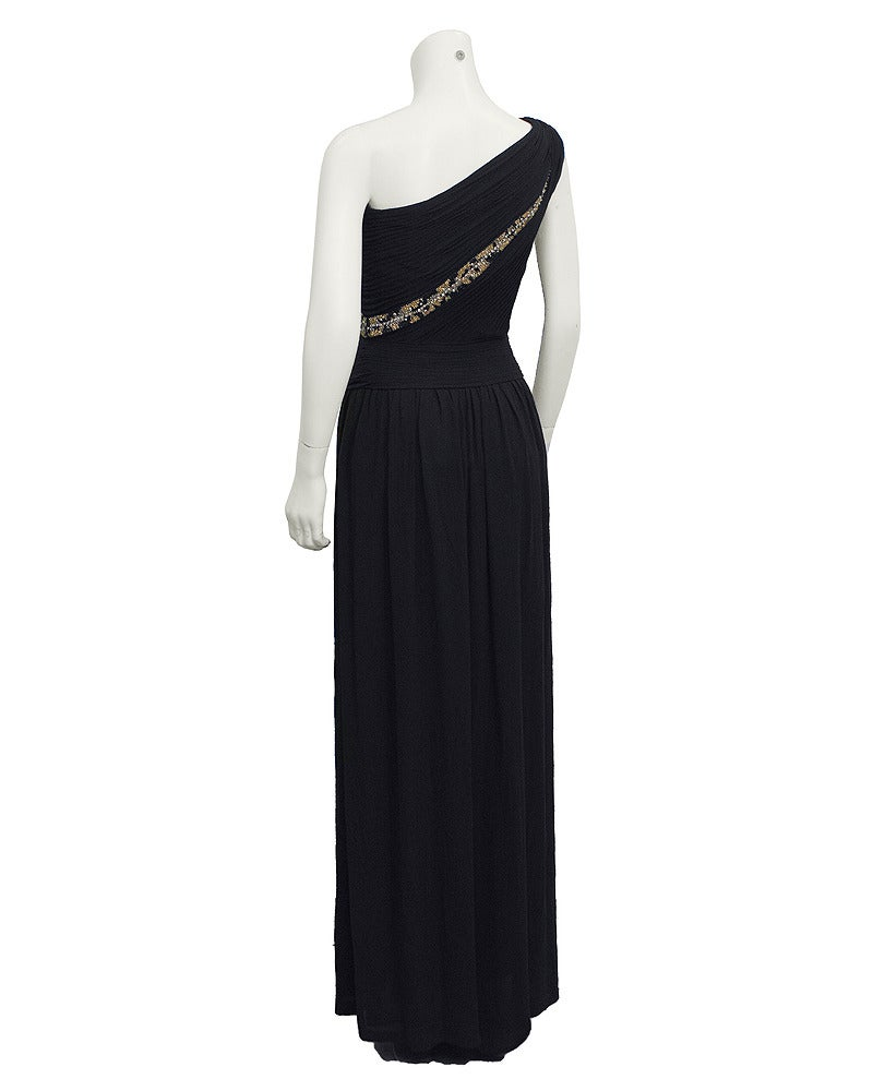Lancetti One Shoulder Black Gown with Embellishment In Excellent Condition For Sale In Toronto, Ontario