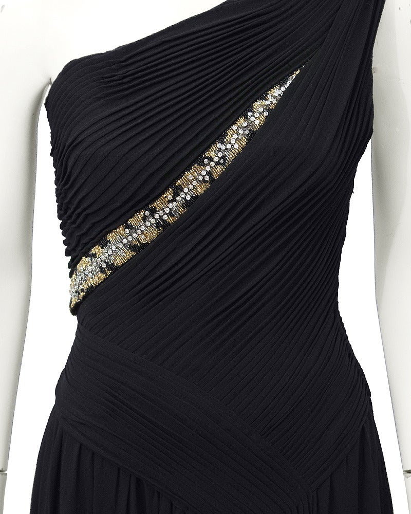 Women's Lancetti One Shoulder Black Gown with Embellishment For Sale
