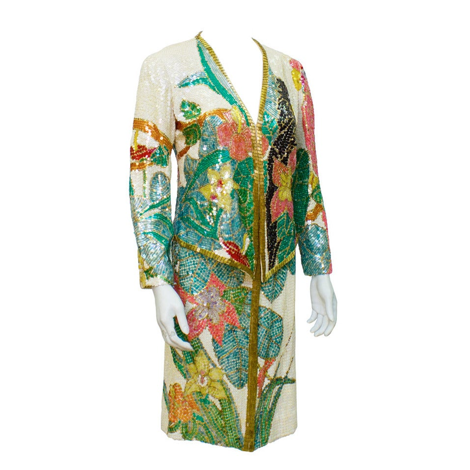 1980s Neil Bieff Floral Beaded Evening Suit