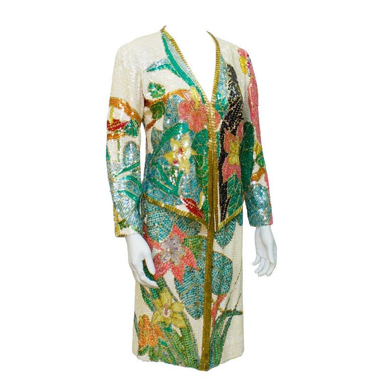1980s Neil Bieff Floral Beaded Evening Suit For Sale