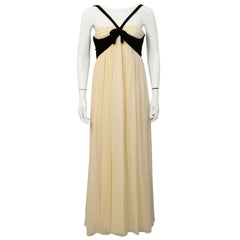 1960s Sarmi Cream Chiffon & Black Velvet Gown