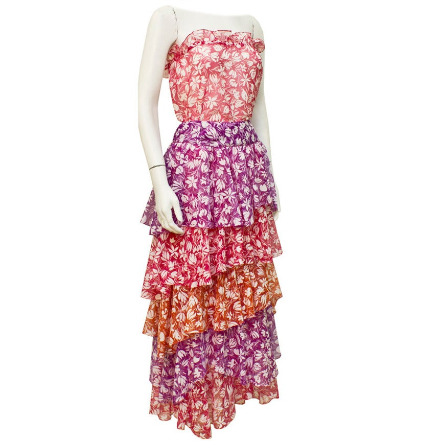 1980s Stephen Burrows Floral Multi Color Ensemble For Sale