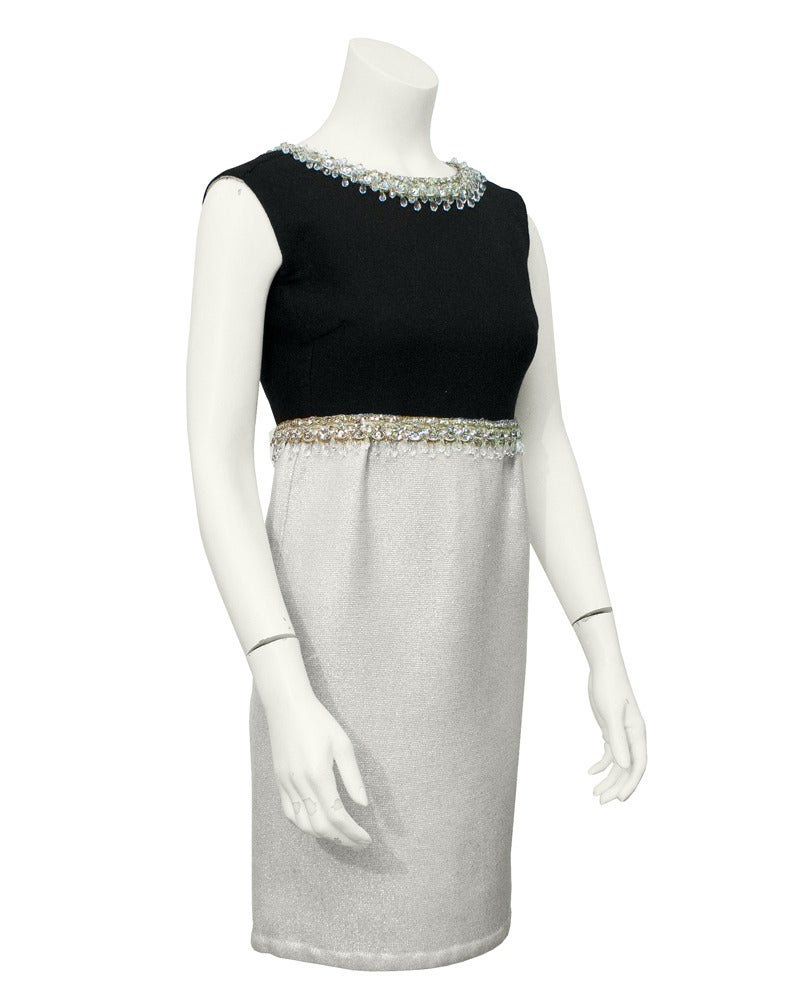 Gray 1960s Fabiani Silver & Black Ensemble with Jewelled Neckline and Waist For Sale