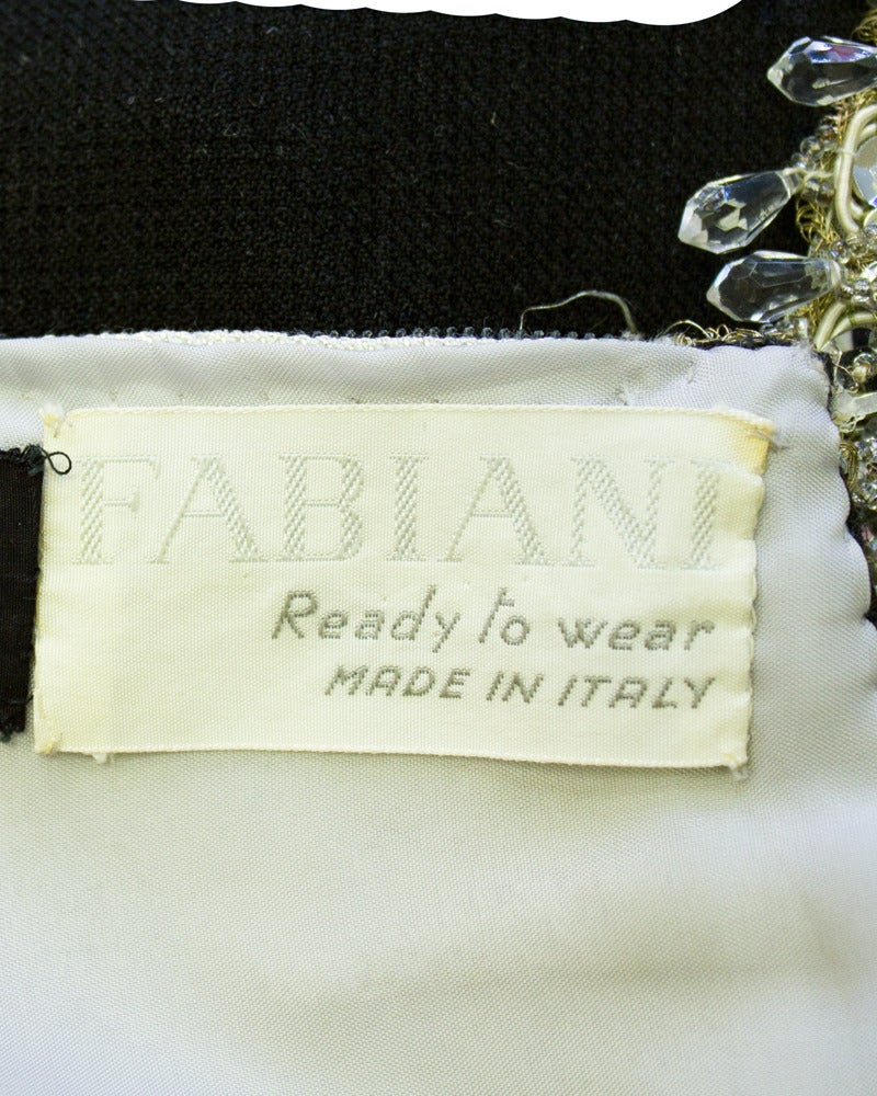 Women's 1960s Fabiani Silver & Black Ensemble with Jewelled Neckline and Waist For Sale