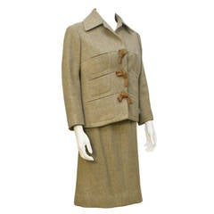 1960s Carven Tan Suit with Leather Detail