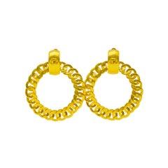 1996 Chanel Gold Chain Link Hoop Earrings