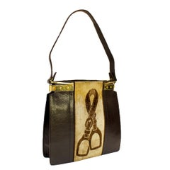 1970s Gucci Brown Leather & Velvet Tote