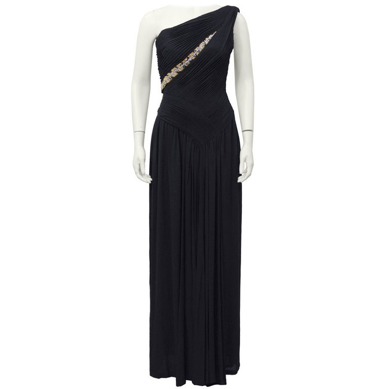 Lancetti One Shoulder Black Gown with Embellishment For Sale