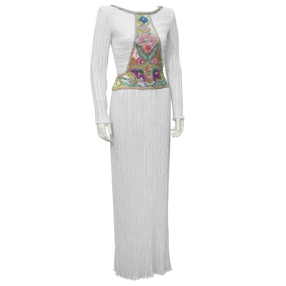 1970's Mary McFadden White Marii Pleated Gown