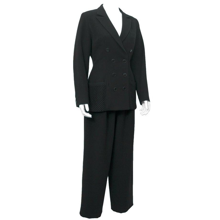 1980's Yohji Yamamoto Black Wool Suit with Net Pockets