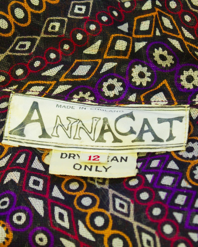 1960s Annacat Psychedelic Geo Print Maxi Dress 5