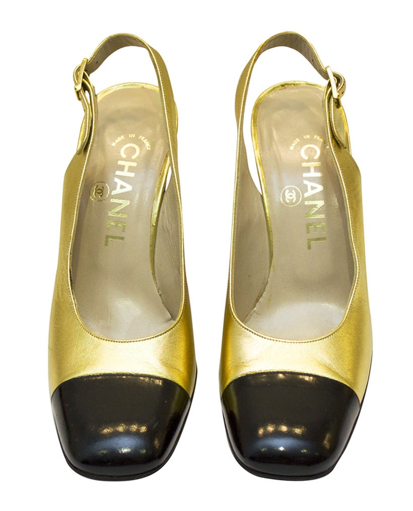 Brown 1990s Chanel Gold Leather Sling Back Pumps For Sale