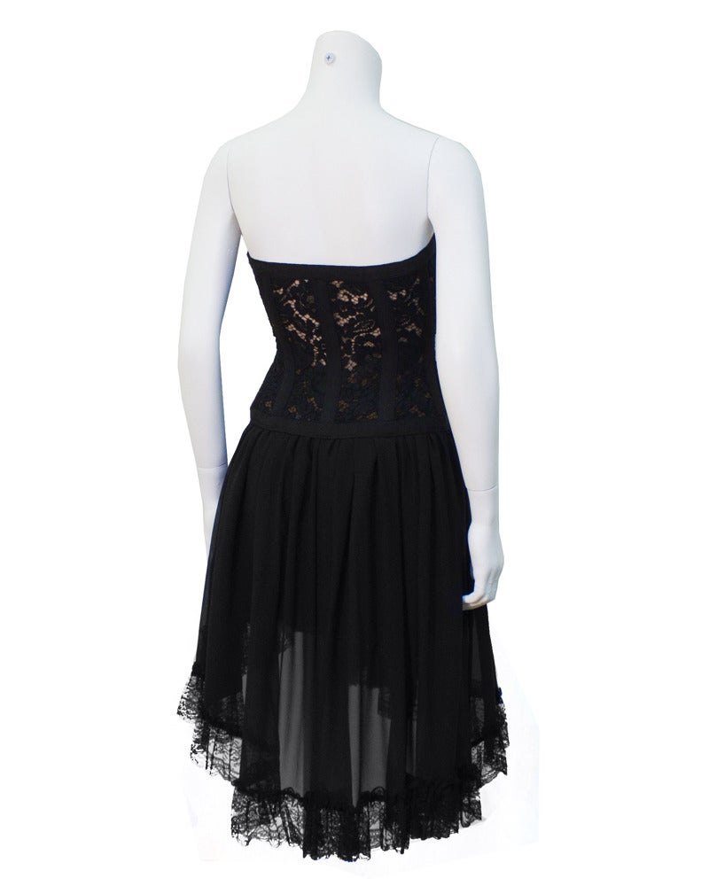 1980s Yves Saint Laurent YSL Rive Gauche Black Lace Corset & Chiffon Skirt In Excellent Condition For Sale In Toronto, Ontario
