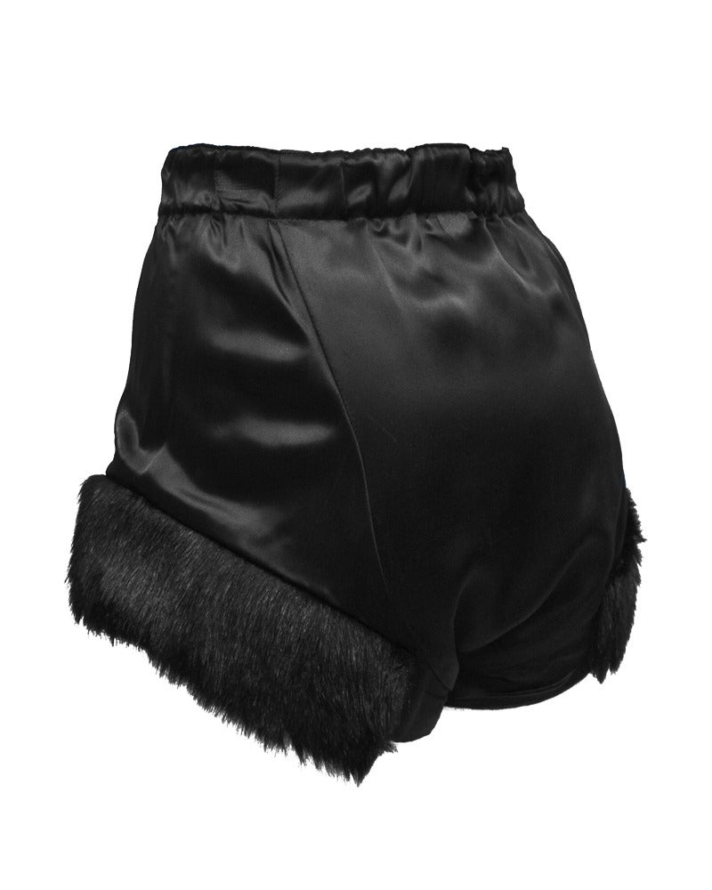 Vivienne Westwood Black Satin Hot Pants Circa 1980's In Excellent Condition For Sale In Toronto, CA