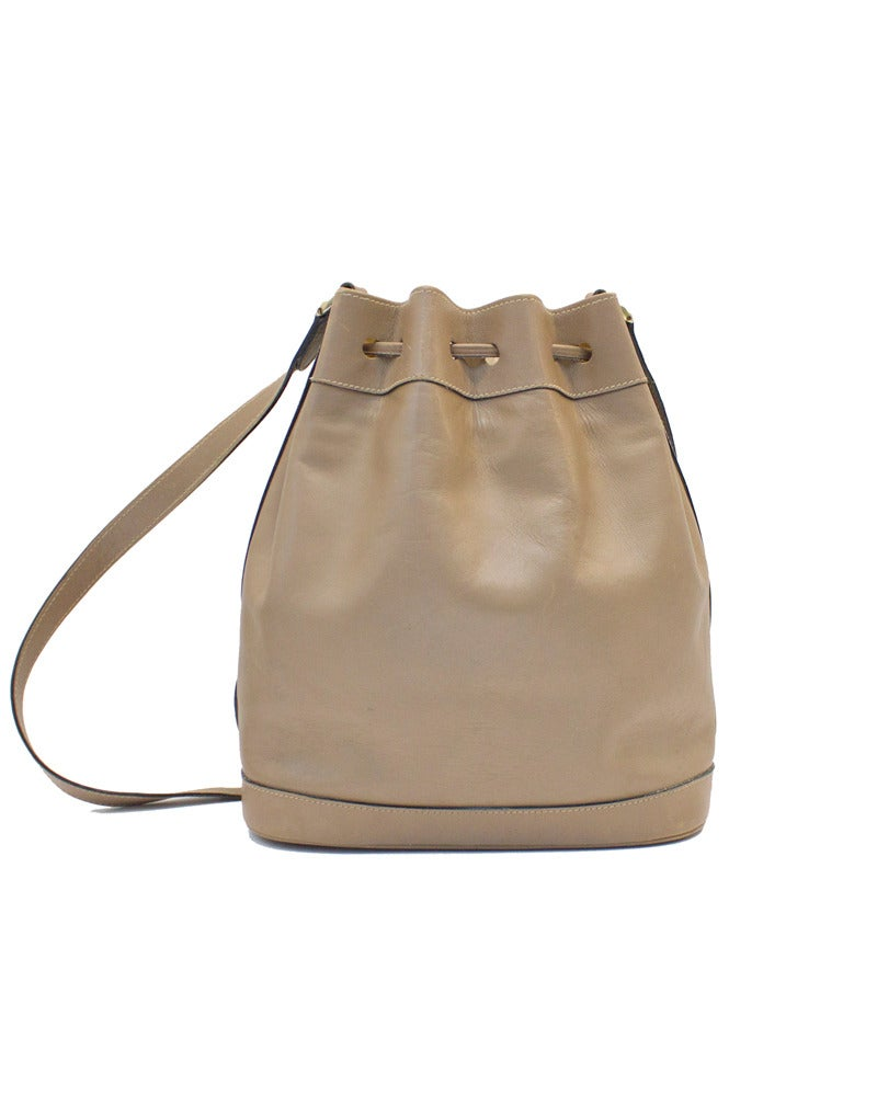 Brown 1980s Mark Cross Taupe Leather Drawstring Bag For Sale