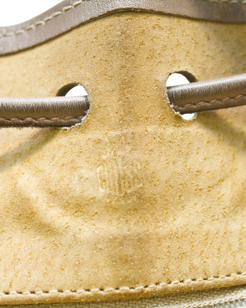 Women's 1980s Mark Cross Taupe Leather Drawstring Bag For Sale