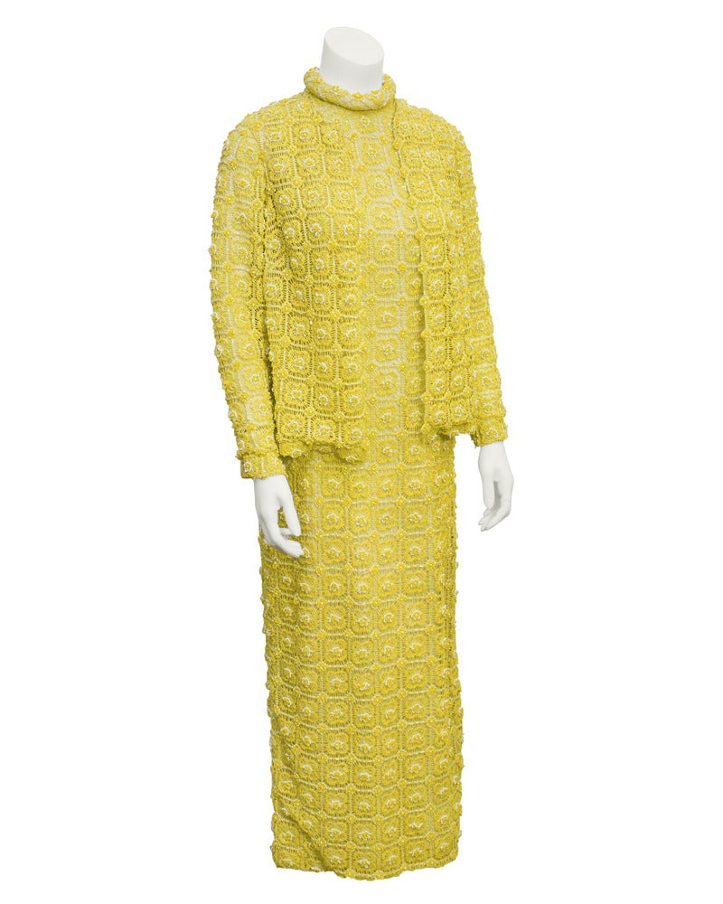 Women's 1960s Marty Modell Yellow Crochet & Beaded Evening Gown and Jacket For Sale