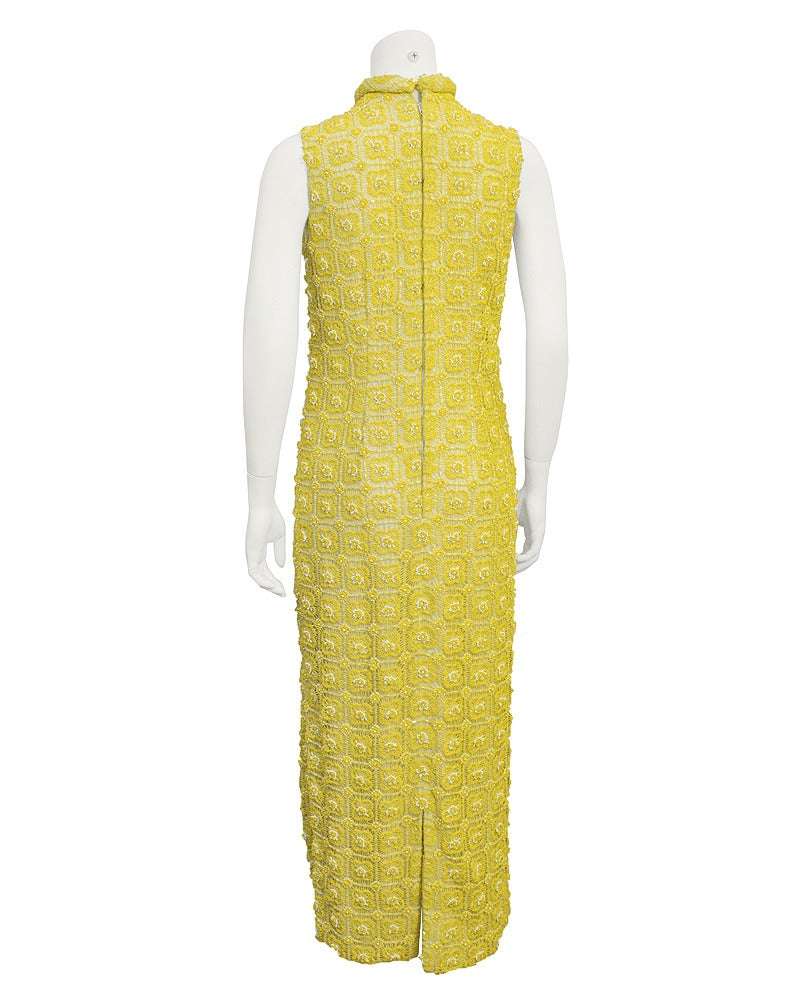 1960s Marty Modell Yellow Crochet and Beaded Evening Gown and Jacket ...