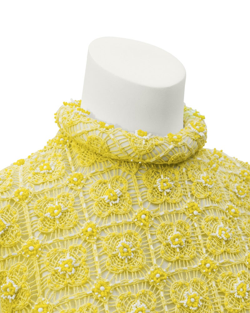 1960s Marty Modell Yellow Crochet & Beaded Evening Gown and Jacket For Sale 1