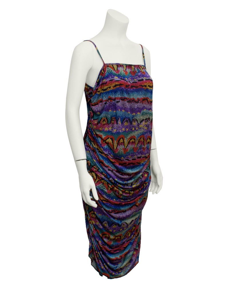 Missoni Home Ambrogina Folding Chair In Printed Satin: Early 1980s Missoni Multi-Colored Printed Ruched Dress For