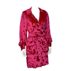 1980s Bill Blass Fuchsia Devorre Silk Velvet Shirt Dress