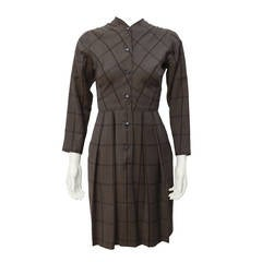 1950s Claire McCardell Brown Plaid Wool Day Dress
