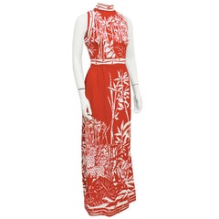 1970s Signed Paganne Red & White Bamboo Print Gown