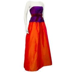 1960s Sarmi Purple & Orange Ball Gown