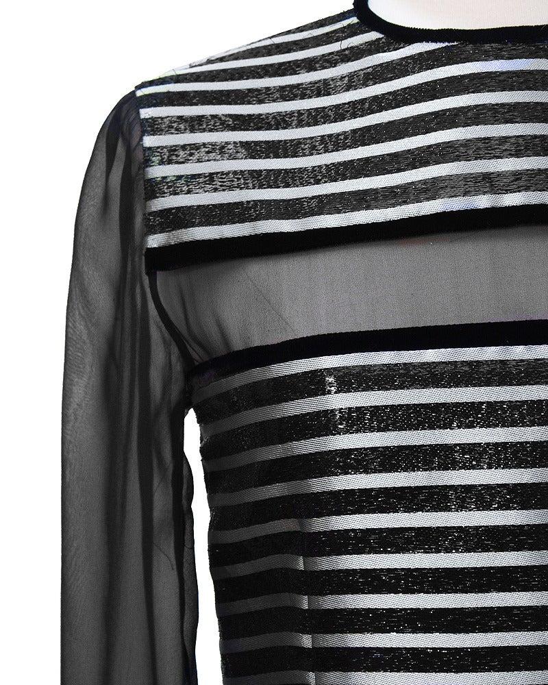Black Galanos Metallic Stripe Dress with Sheer Panels Circa 1980's For Sale