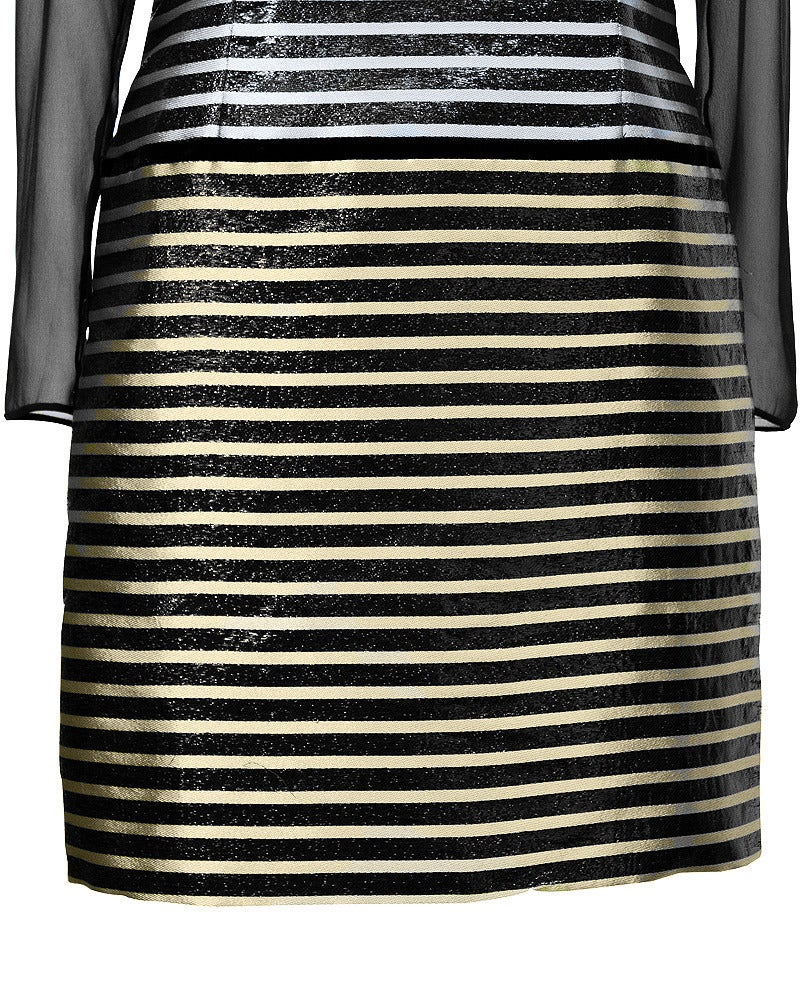 Galanos Metallic Stripe Dress with Sheer Panels Circa 1980's In Excellent Condition For Sale In Toronto, Ontario