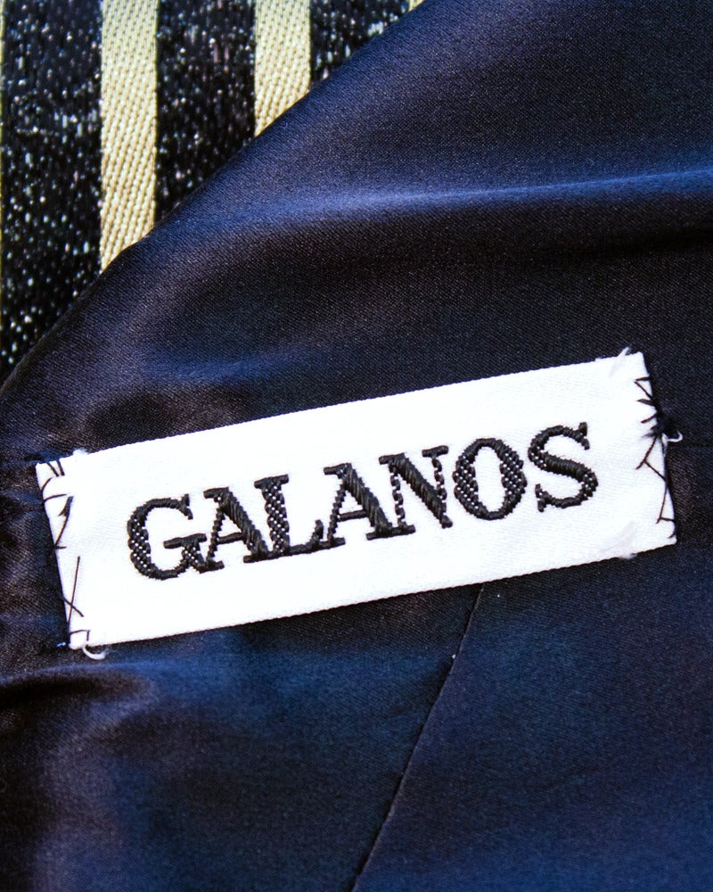 Women's Galanos Metallic Stripe Dress with Sheer Panels Circa 1980's For Sale