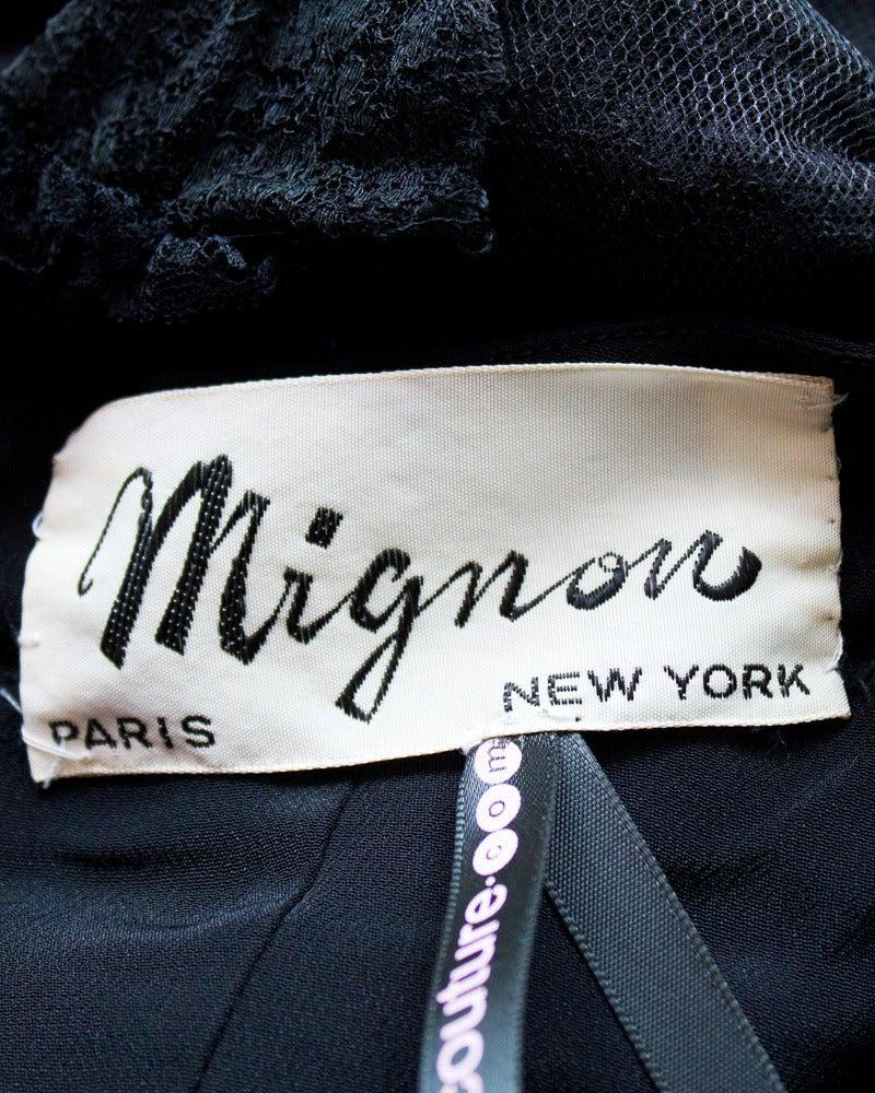 Mignon Black Silk Dress with Lace Bodice Circa 1960's For Sale 2
