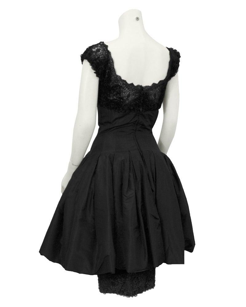 Mignon Black Silk Dress with Lace Bodice Circa 1960's In Excellent Condition For Sale In Toronto, Ontario