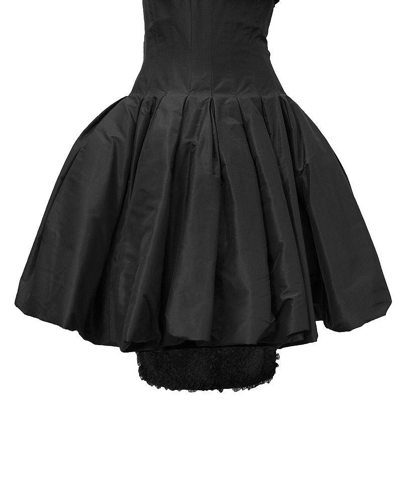 Mignon Black Silk Dress with Lace Bodice Circa 1960's For Sale 1