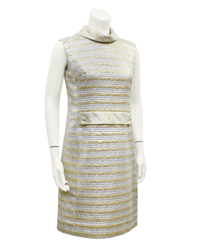 Pat Sandler Silver & Gold Brocade Cocktail Dress Circa 1960's 2