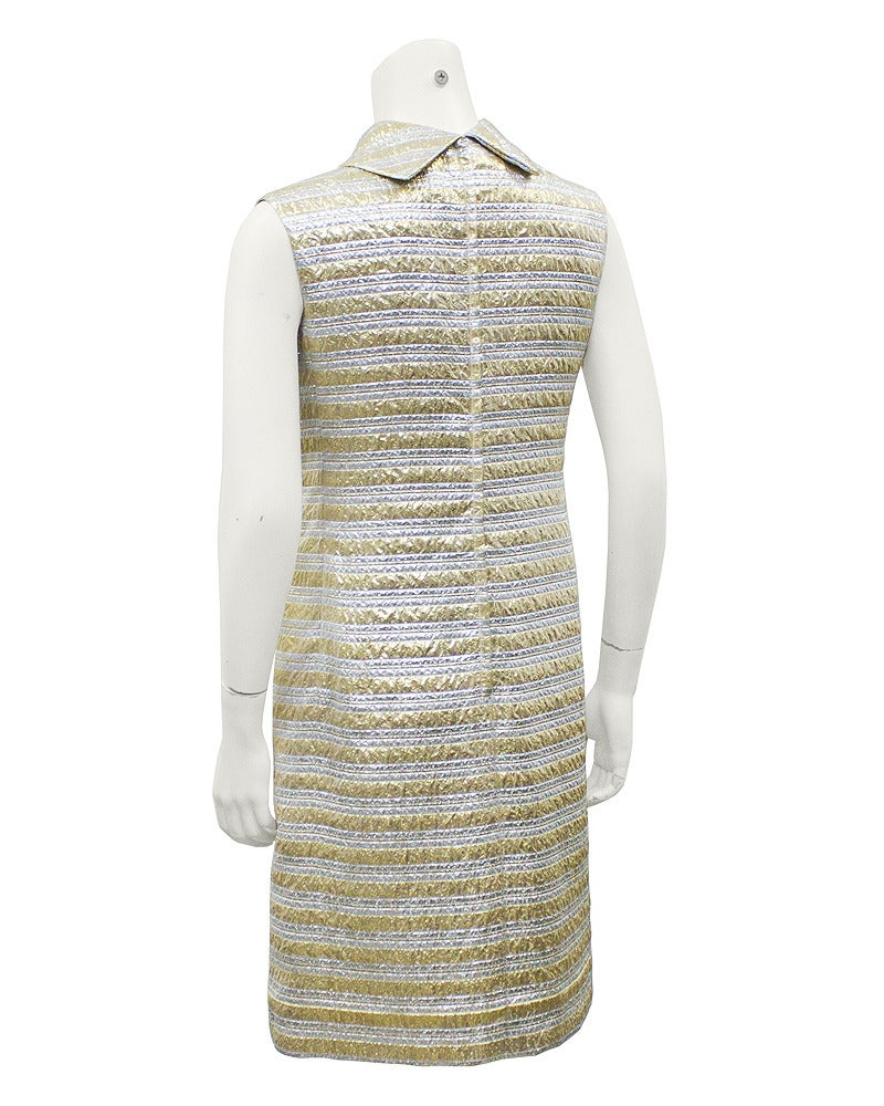 Pat Sandler Silver & Gold Brocade Cocktail Dress Circa 1960's 3