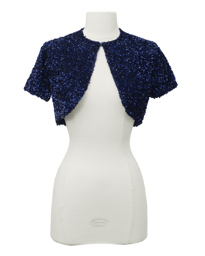 Jacques Griffe Navy Blue Sequin Mini Dress And Bolero