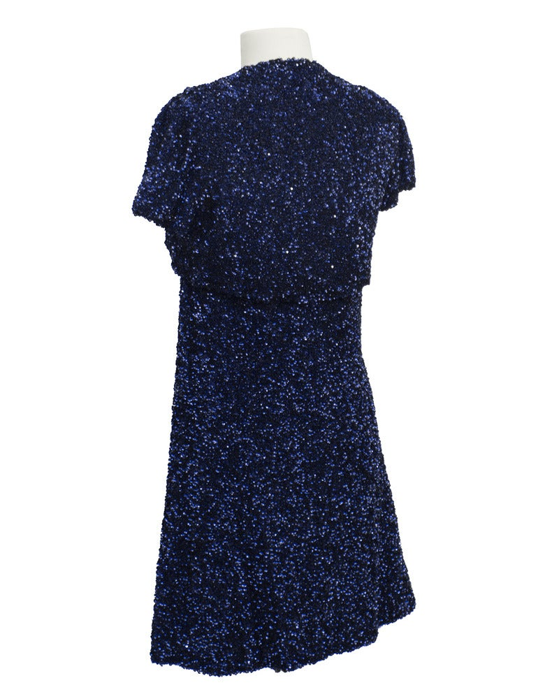 0bee1071632b Black Jacques Griffe Navy Blue Sequin Mini Dress & Bolero Circa 1960 For  Sale