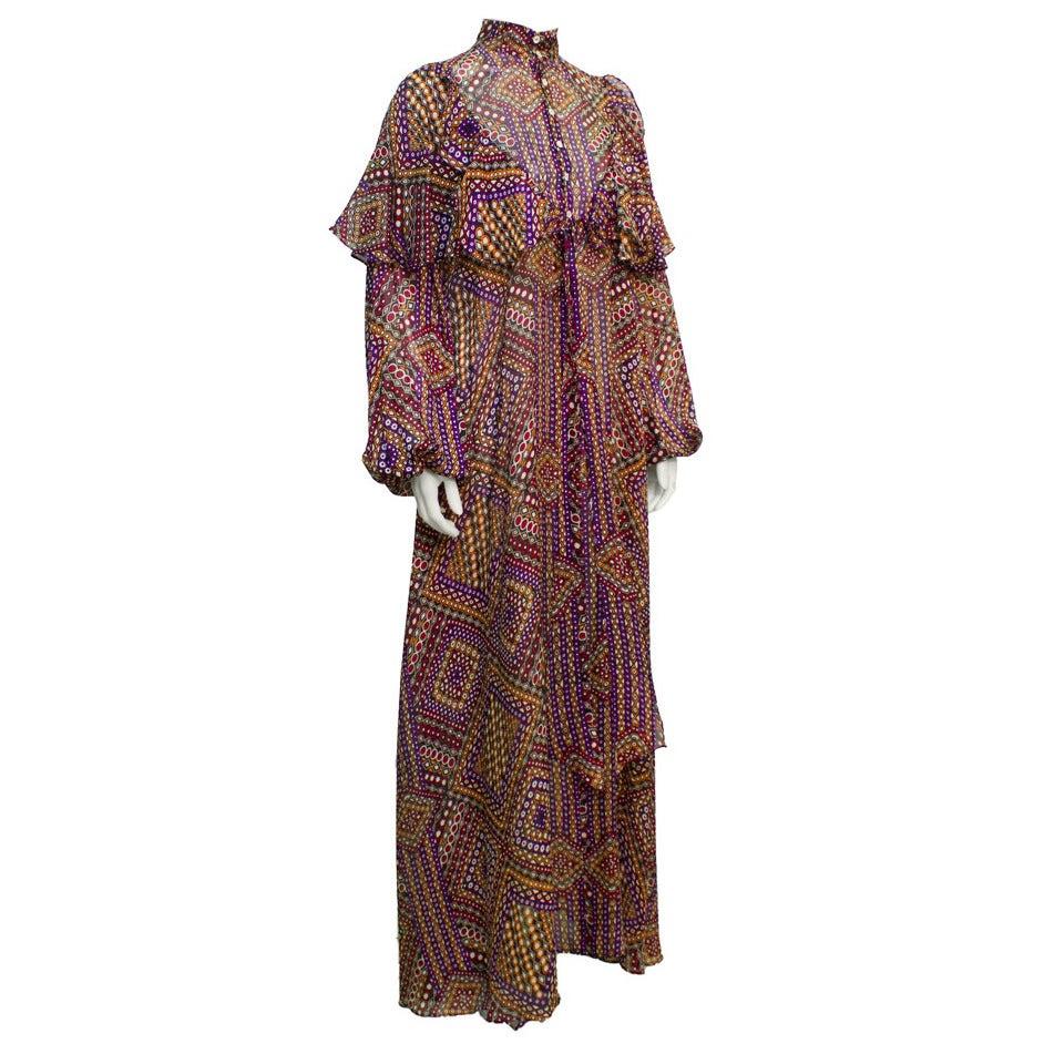 1960s Annacat Psychedelic Geo Print Maxi Dress 1