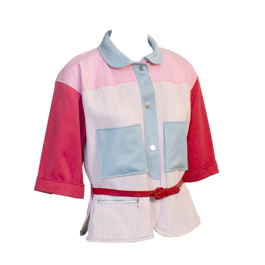 1970s Courreges Red, Pink & Blue Color Block Jacket