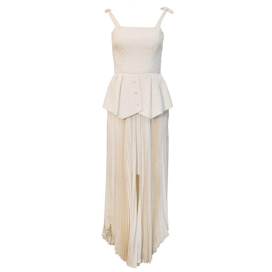 Andre Laug Off-White Silk Peplum Gown Circa 1980s