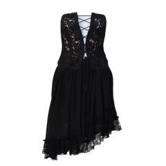 1980s Yves Saint Laurent YSL Rive Gauche Black Lace Corset & Chiffon Skirt