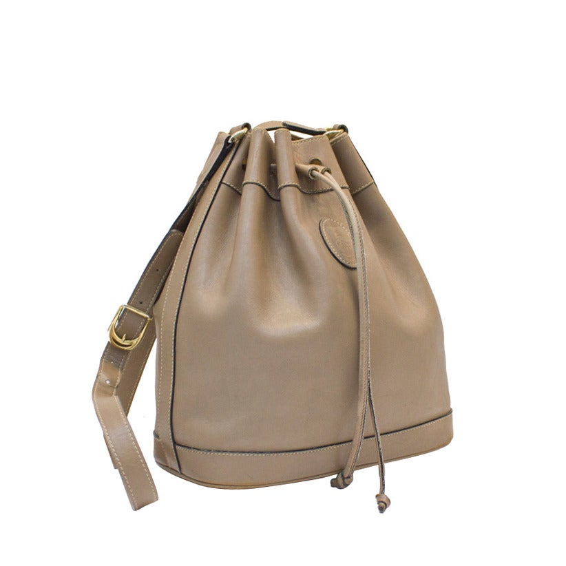 1980s Mark Cross Taupe Leather Drawstring Bag